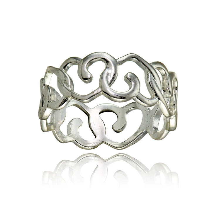 Sterling Silver High Polished Intertwining Open Heart Eternity Band Ring