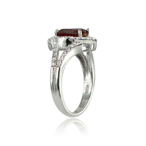 Sterling Silver Garnet and White Topaz Oval Fashion Split Shank Ring