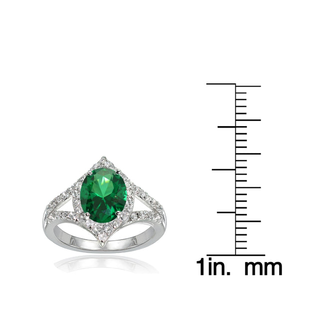 Sterling Silver Simulated Emerald and White Topaz Oval Fashion Split Shank Ring, Size 9