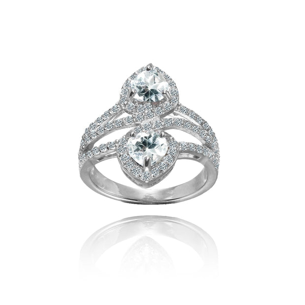 Sterling Silver Aquamarine and White Topaz Heart Halo Friendship Ring