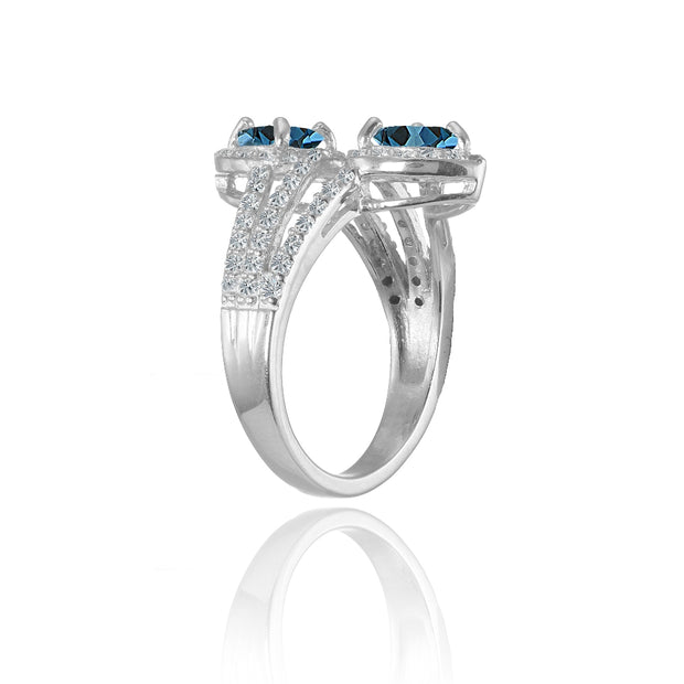 Sterling Silver London Blue Topaz and White Topaz Heart Halo Friendship Ring