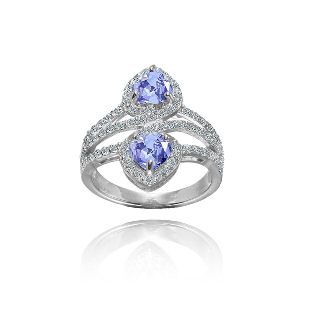 Sterling Silver Tanzanite and White Topaz Heart Halo Friendship Ring