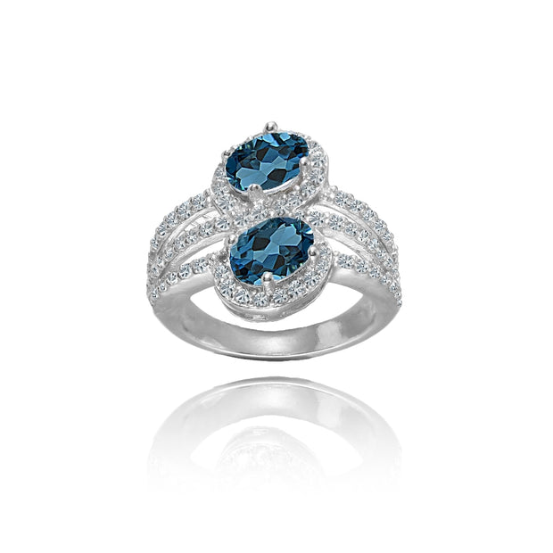 Sterling Silver London Blue Topaz and White Topaz Oval Halo Friendship Ring