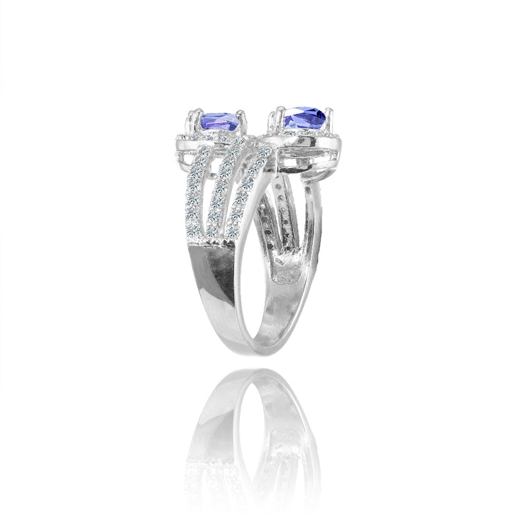 Sterling Silver Tanzanite and White Topaz Oval Halo Friendship Ring