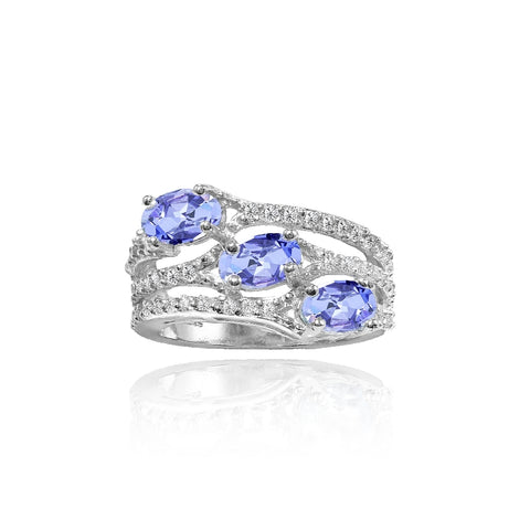 Sterling Silver Tanzanite and White Topaz Oval Three Stone Ring