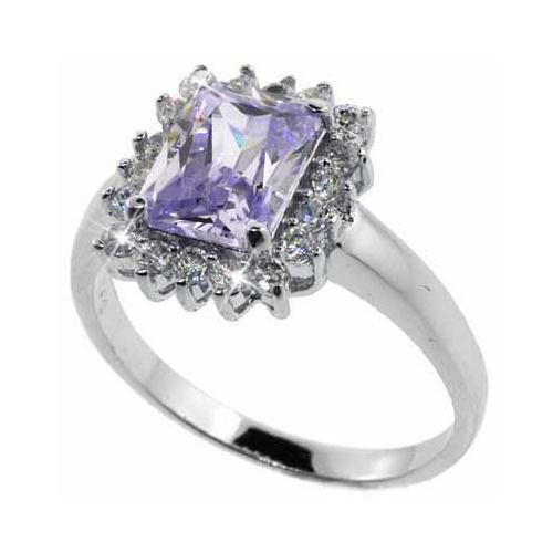Sterling Silver Lavender & Clear CZ Ring Size 10