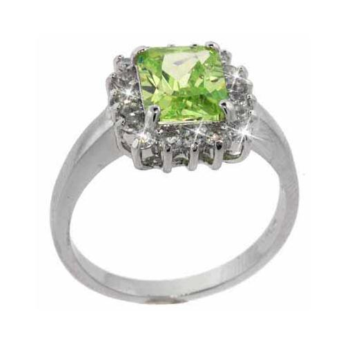 Sterling Silver Light Green & Clear CZ Square Ring