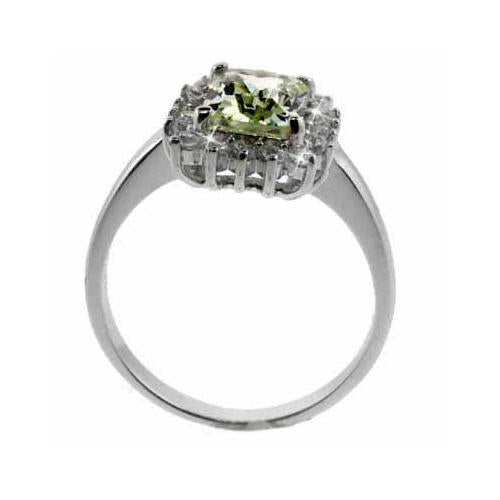 Sterling Silver Olive Green CZ & Clear CZ Ring