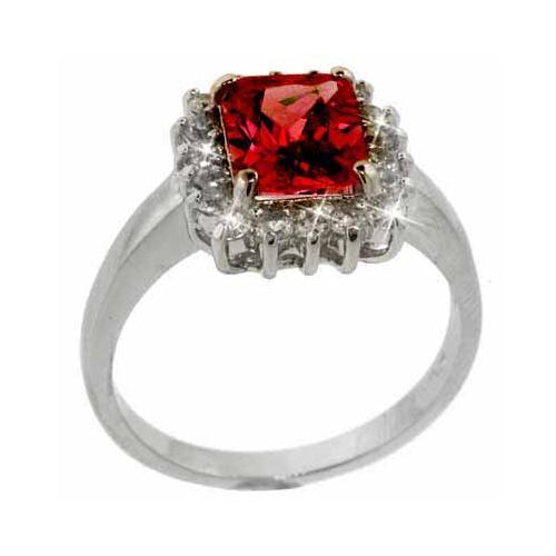 Sterling Silver Red & Clear CZ Square Ring