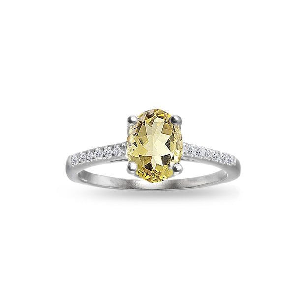 Sterling Silver Citrine and White Topaz Oval Crown Ring,
