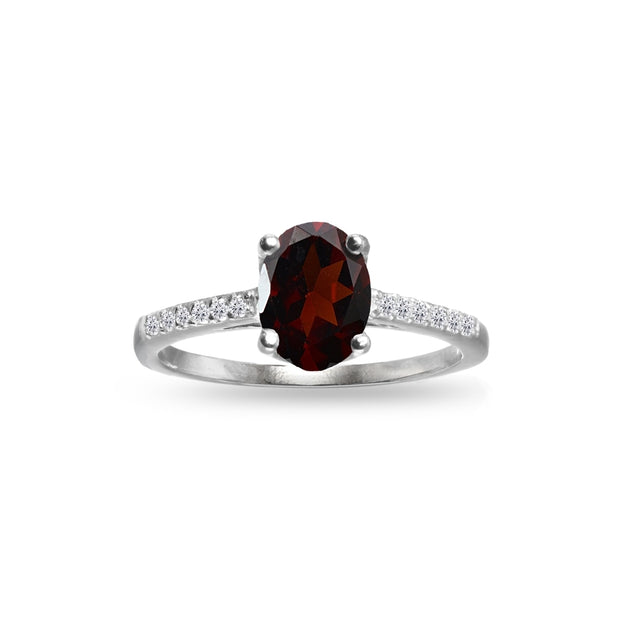 Sterling Silver Garnet and White Topaz Oval Crown Ring