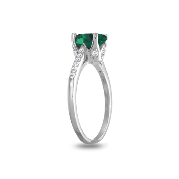 Sterling Silver Simulated Emerald and White Topaz Oval Crown Ring, Size 5