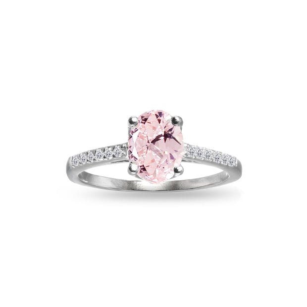 Sterling Silver Created Morganite and White Topaz Oval Crown Ring