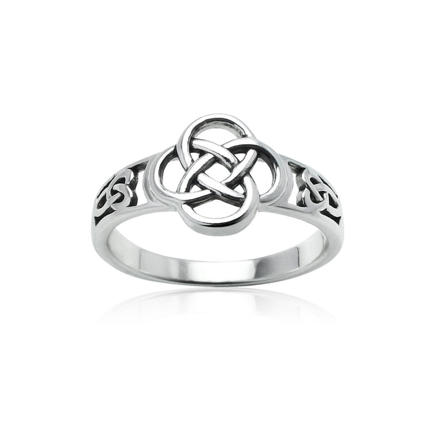 Sterling Silver Oxidized Love Knot Flower Ring,