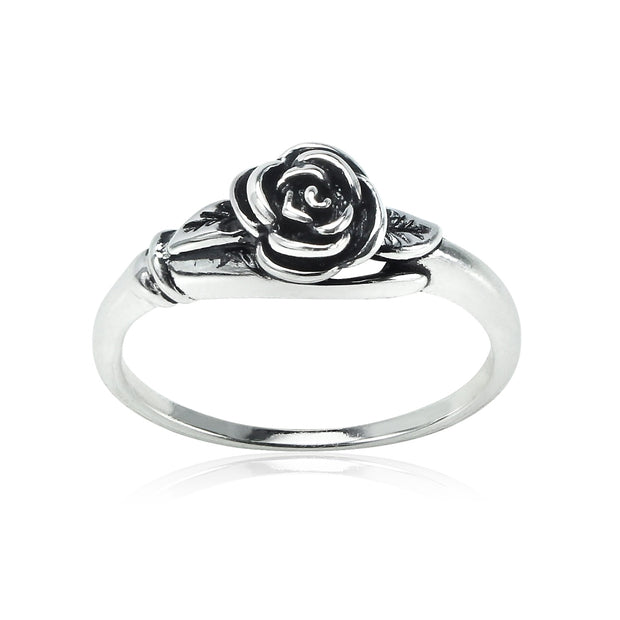 Sterling Silver Oxidized Flower Rose Ring,