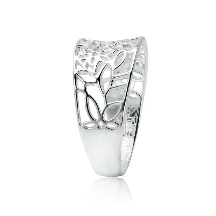 Sterling Silver Polished Filigree Flower Ring,