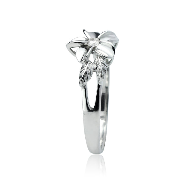 Sterling Silver Cubic Zirconia Petal Flower Ring,