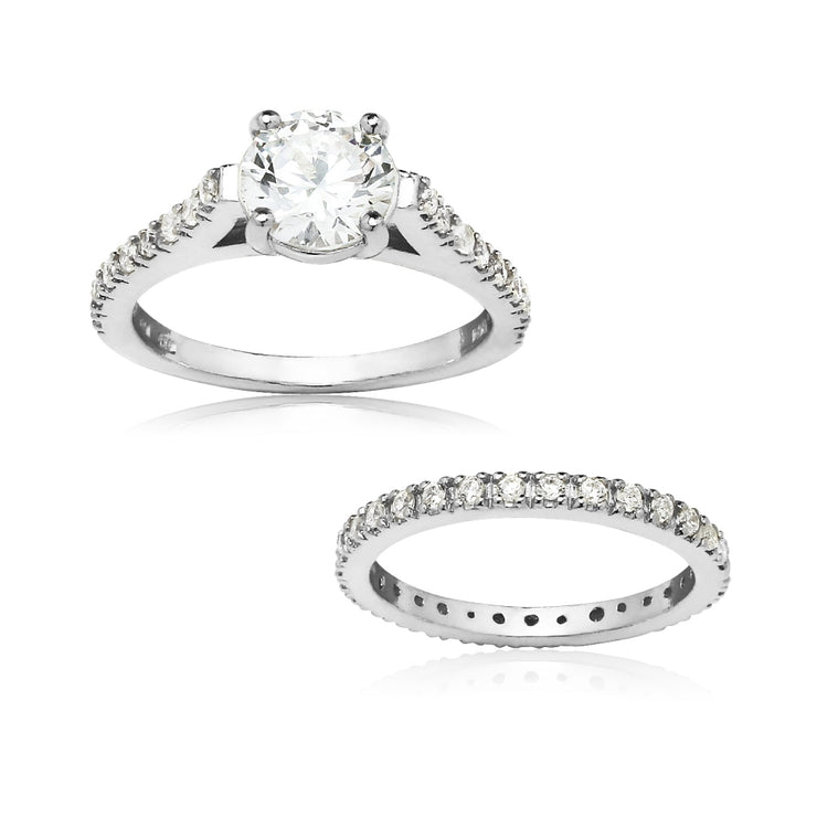 Sterling Silver Swarovski Zirconia Ring Set