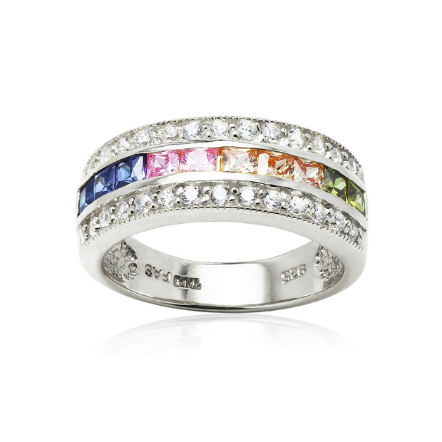 Sterling Silver Multi-Color Cubic Zirconia Channel Set Fashion Ring,