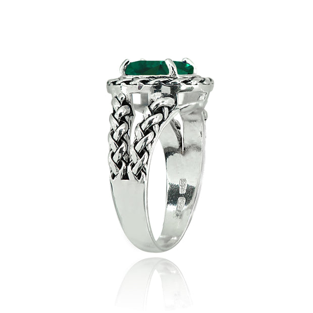 Sterling Silver Simulated Emerald Pear-Cut Oxidized Rope Split Shank Ring, Size 7