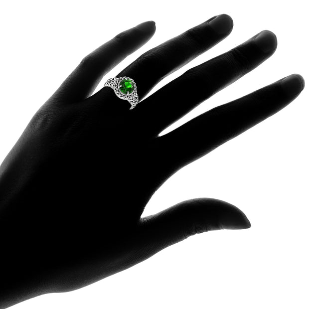 Sterling Silver Simulated Emerald Round Oxidized Rope Split Shank Ring, Size 7