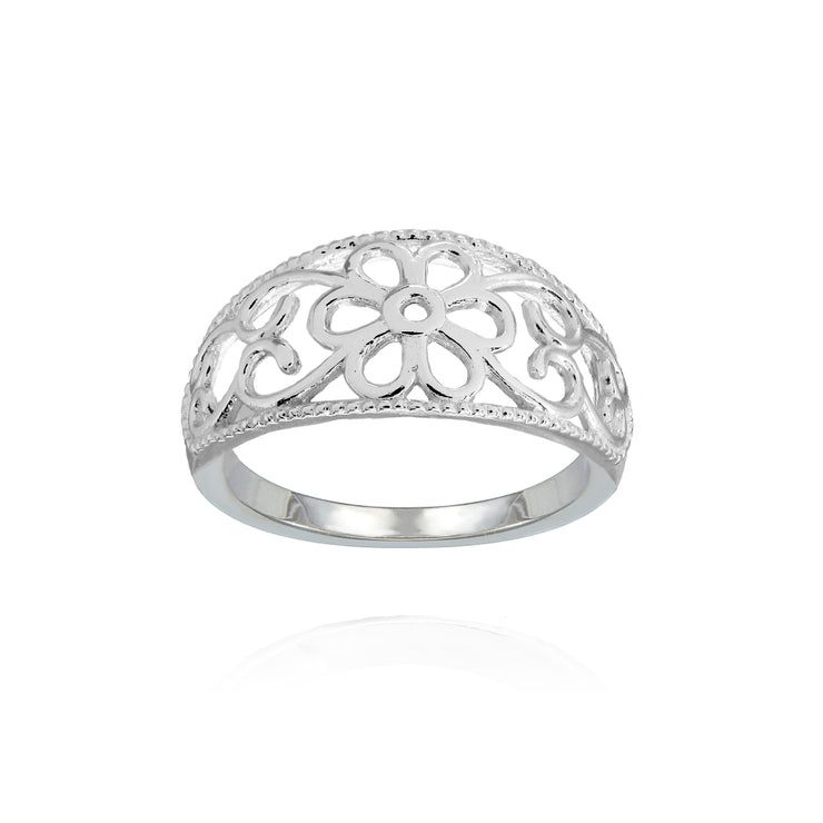 Sterling Silver High Polished Textured Filigree Flower Ring,