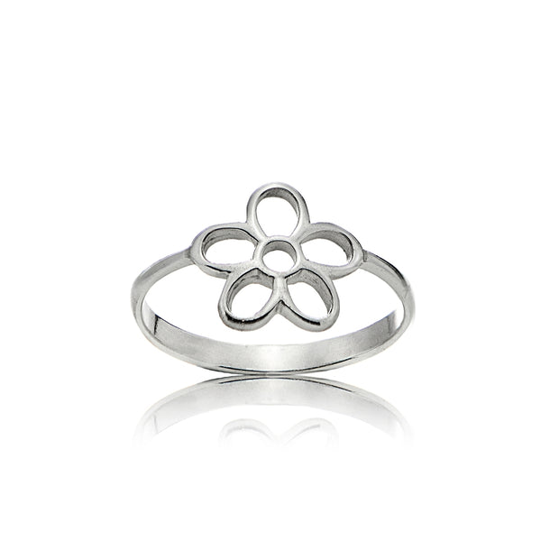 Sterling Silver High Polished Plain Simple Hollow Cutout Flower Ring,