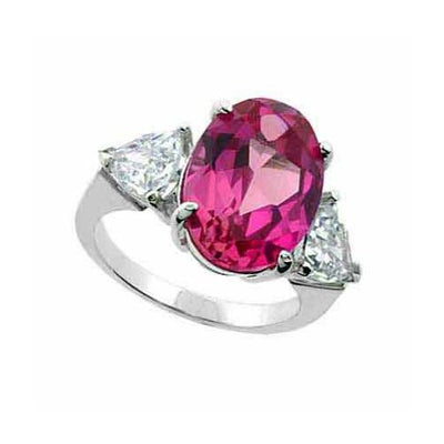Sterling Silver Created Pink Sapphire & CZ Three Stone Ring Size 8