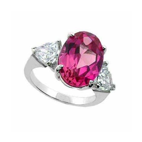 Sterling Silver Created Pink Sapphire & CZ Three Stone Ring