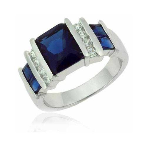 Sterling Silver Rectangular Blue Tanzanite & Clear CZ Ring