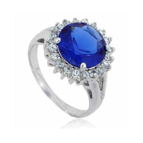 Sterling Silver Round Tanzanite CZ & Clear CZ Ring
