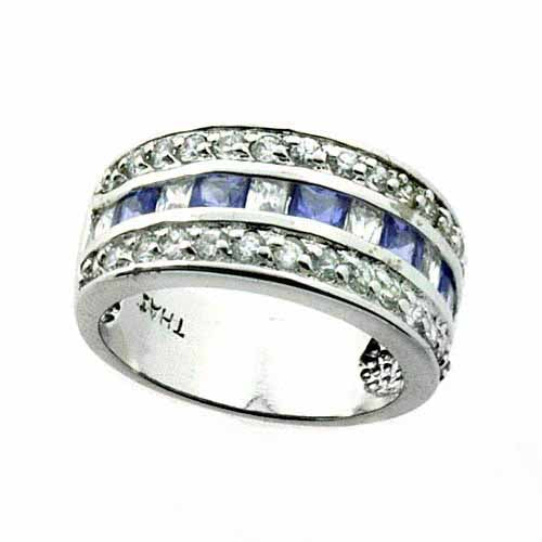 Sterling Silver Tanzanite CZ Vintage Created Diamond CZ Band Ring