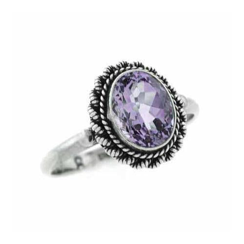 Sterling Silver Amethyst Oval Vintage Ring