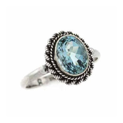 Sterling Silver Oval Blue Topaz Vintage Solitaire Ring Size 7