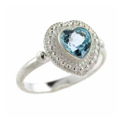 Sterling Silver Bali Bead Blue Topaz Heart Ring