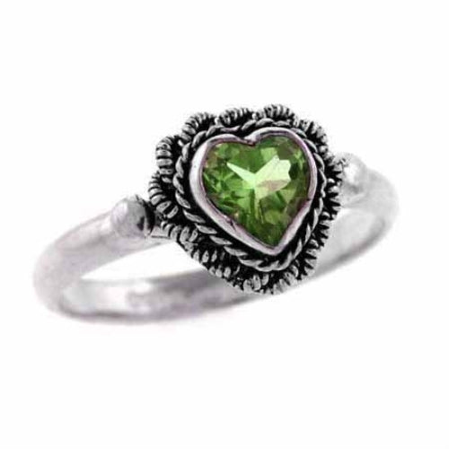 Sterling Silver Genuine Peridot Heart Ring