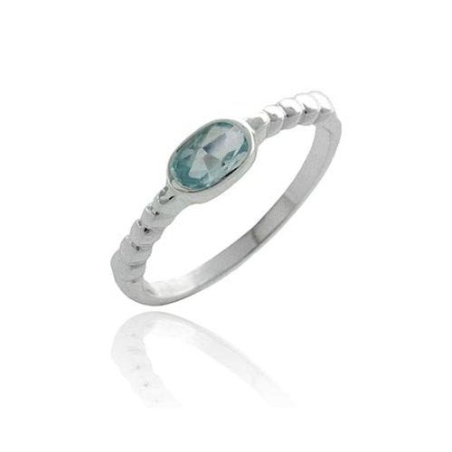 Sterling Silver Blue Topaz Oval Solitaire Ring