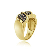 1K Gold over Sterling Silver 1/4 ct. tdw Champagne Diamond S Design Ring