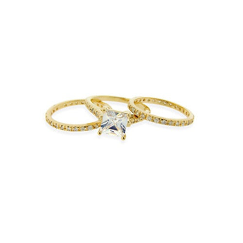 1K Gold over Sterling Silver Square CZ Wedding Engagement Ring Set