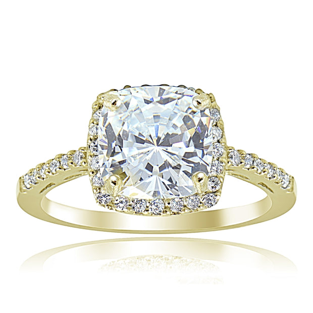 Gold Tone over Sterling Silver Cubic Zirconia Cushion-cut Bridal Halo Engagement Ring