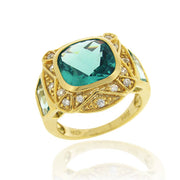 1K Gold over Sterling Silver .2ct Caribbean Mist CZ Square Fashion Ring