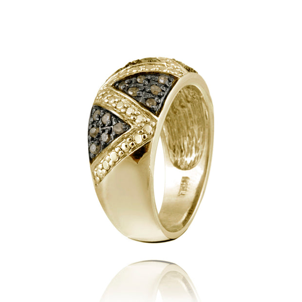 1K Gold over Sterling Silver 1/3ct Champagne Diamond Ring