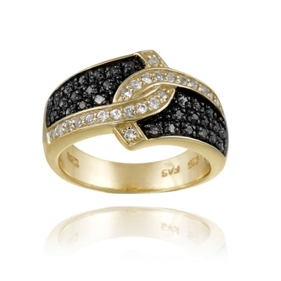18K Gold over Silver 1/3ct Black Diamond & White Topaz Ring