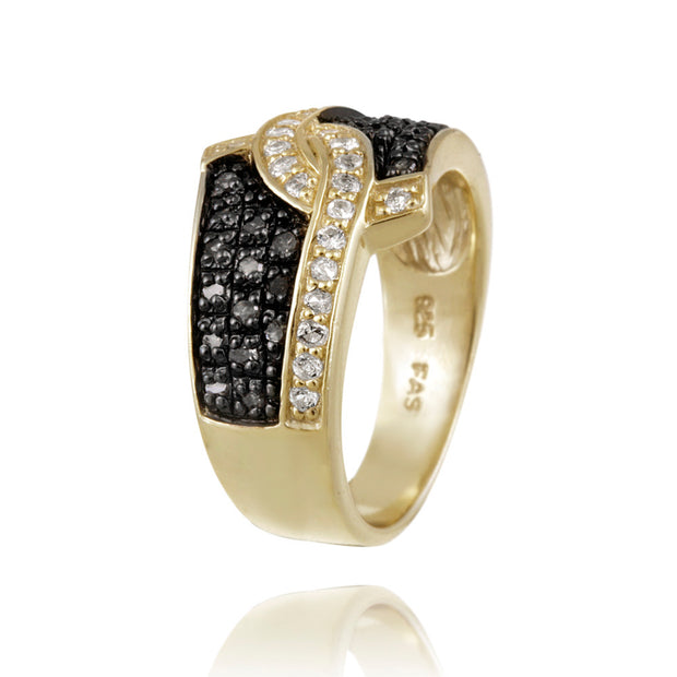 1K Gold over Silver 1/3ct Black Diamond & White Topaz Ring