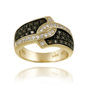 1K Gold over Silver 1/3ct Champagne Diamond & White Topaz Ring