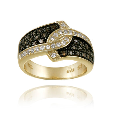 18K Gold over Silver 1/3ct Champagne Diamond & White Topaz Ring