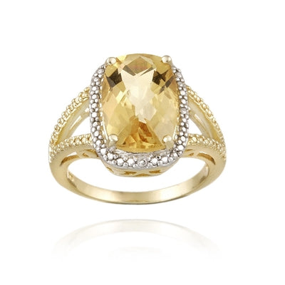 18K Gold over Sterling Silver 5.1ct Citrine & Diamond Accent Cushion Cut Ring