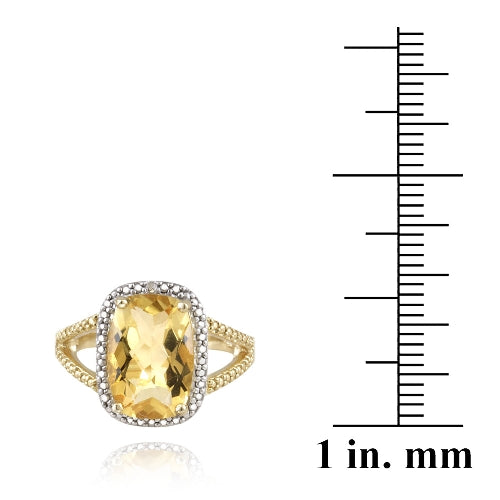 1K Gold over Sterling Silver .1ct Citrine & Diamond Accent Cushion Cut Ring