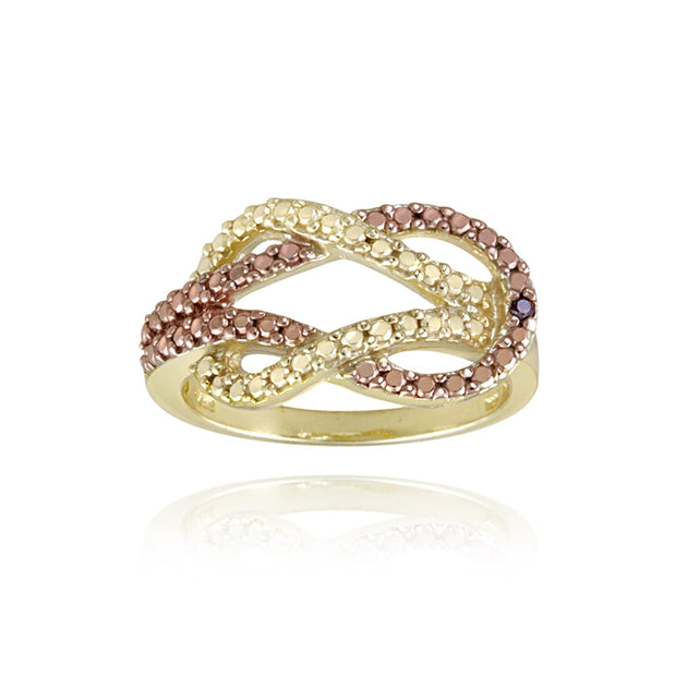 1K over Sterling Silver Two-Tone Rose Gold Red Diamond Accent Love Knot Ring