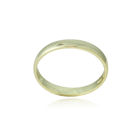 18K Gold over Sterling Silver 2.5mm Classic Wedding Band Ring